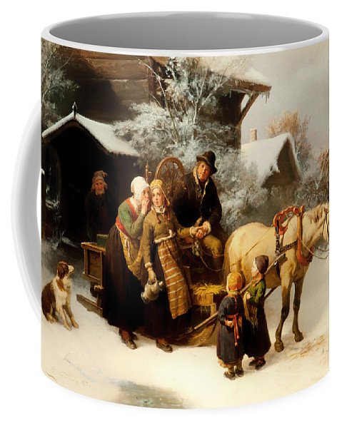 Painting Coffee Mug featuring the painting Leaving Home by Mountain Dreams