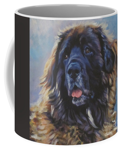 Leonberger Coffee Mug featuring the painting Leonberger by Lee Ann Shepard