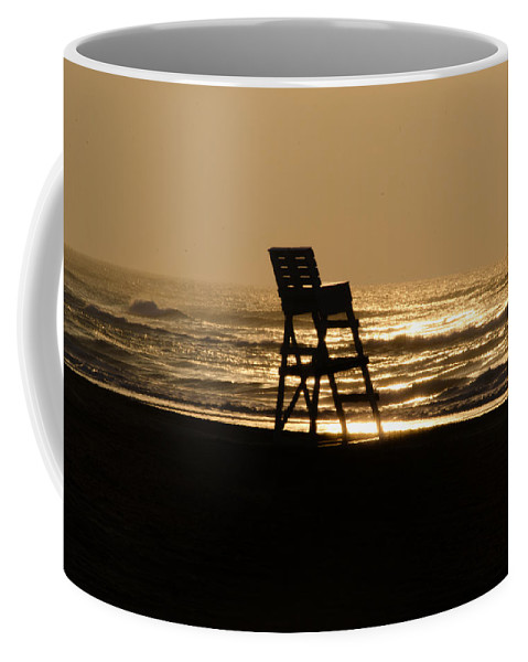 Lifeguard Coffee Mug featuring the photograph Lifeguard Chair In The Morning by Bill Cannon