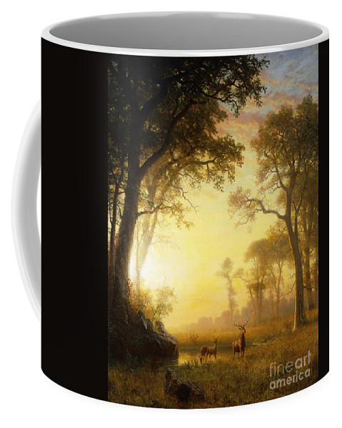 19th Century Coffee Mug featuring the painting Light In The Forest by Albert Bierstadt