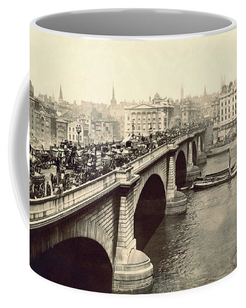 1894 Coffee Mug featuring the photograph London Bridge Traffic by Underwood Archives