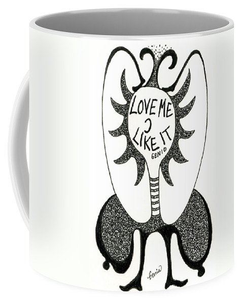 Genio Coffee Mug featuring the drawing Love Me by Genio GgXpress