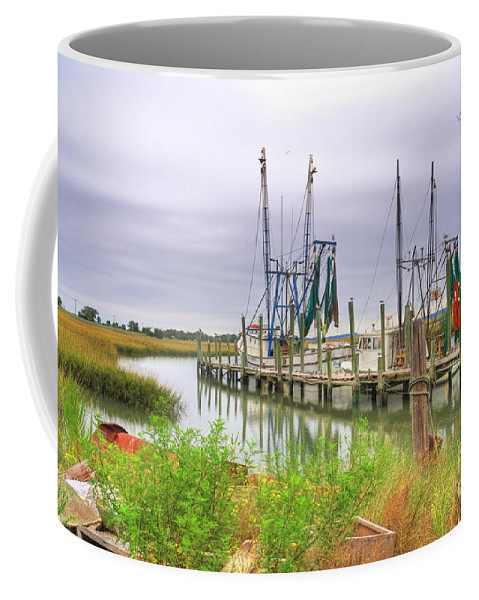 Shrimp Boats Coffee Mug featuring the photograph Lowcountry Shrimp Dock by Scott Hansen