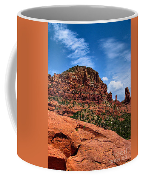 Arid Coffee Mug featuring the photograph Madonna And Child Two Nuns Rock Formations Sedona Arizona by Amy Cicconi