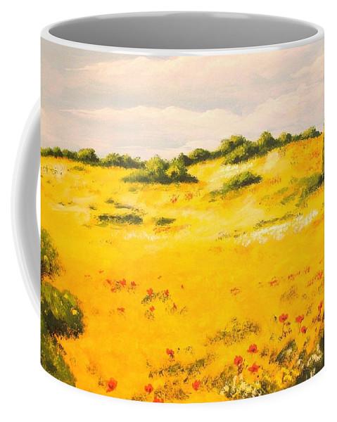 Landscape Coffee Mug featuring the painting Mediterranean Landscape by Voros Edit