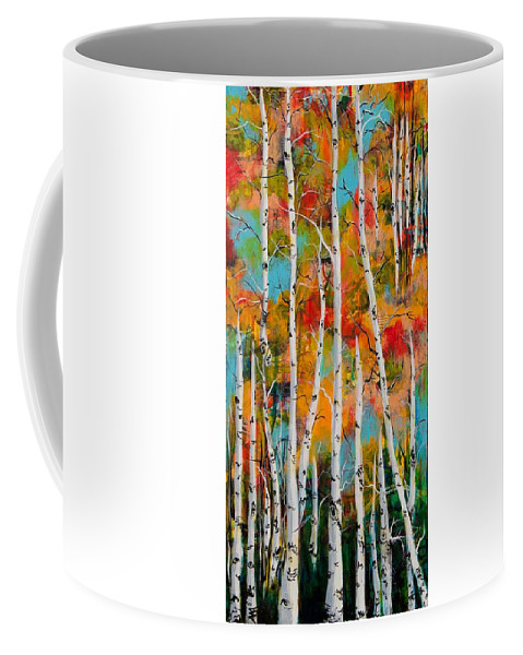 Aspens Coffee Mug featuring the painting Middle Mountain Aspens by Amber Malarsie Moritz