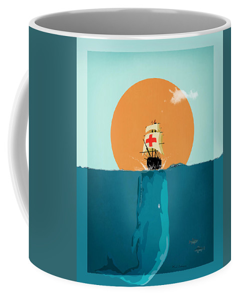 Fish Coffee Mug featuring the painting Moby by Mark Ashkenazi