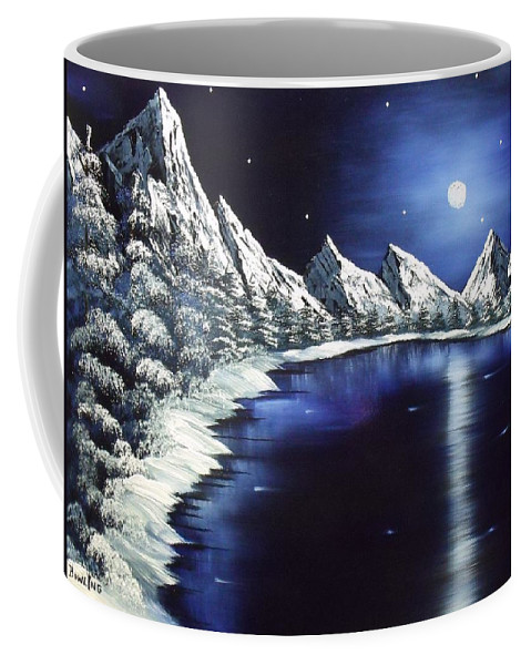 Landscape Lake Moon Mountains Coffee Mug featuring the painting Moon Lake by Don Bowling
