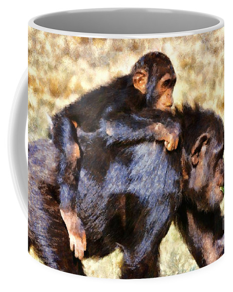 Chimpanzee Coffee Mug featuring the painting Mother Chimpanzee With Baby On Her Back by George Atsametakis