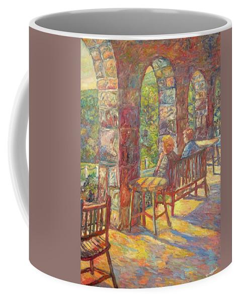 Mountain Lake Coffee Mug featuring the painting Mountain Lake Evening by Kendall Kessler