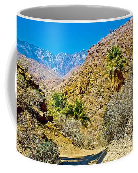 Mountain Peaks From Lower Palm Canyon Trail In Indian Canyons Near Palm Springs Coffee Mug featuring the photograph Mountain Peaks From Lower Palm Canyon Trail In Indian Canyons Near Palm Springs-california by Ruth Hager