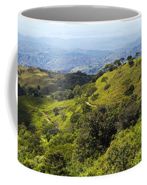 Monteverde Costa Rica Mountain Mountains Valley Valleys Tree Trees Nature Landscape Landscapes Coffee Mug featuring the photograph Mountains And Valleys by Bob Phillips