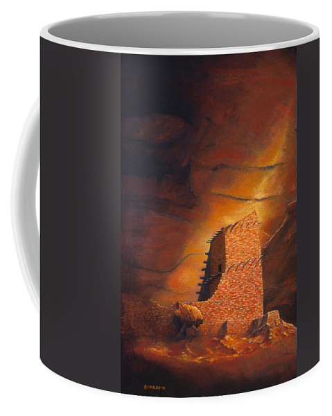 Mummy Cave Ruins Coffee Mug featuring the painting Mummy Cave Ruins by Jerry McElroy