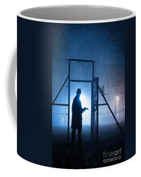Gunman Coffee Mug featuring the photograph Mysterious Man With Pistol Ballpark Night Fog by Lee Avison