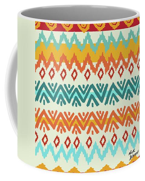 Navajo Coffee Mug featuring the digital art Navajo Mission Round by Nicholas Biscardi