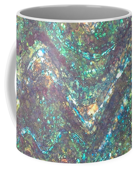 Batik Coffee Mug featuring the tapestry - textile Ocean Waves by Lori Russell