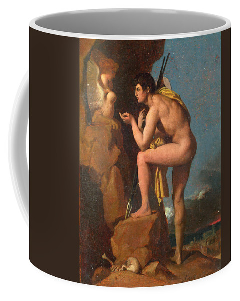 Jean-auguste-dominique Ingres Coffee Mug featuring the painting Oedipus And The Sphinx by Jean-Auguste-Dominique Ingres