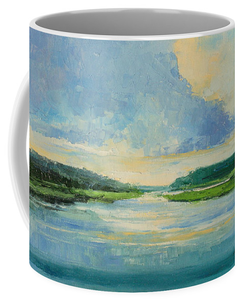 River Coffee Mug featuring the painting On The River by Luke Karcz
