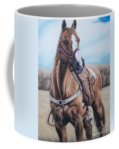 Horse Coffee Mug featuring the painting Opal Bugs by Ann Holder