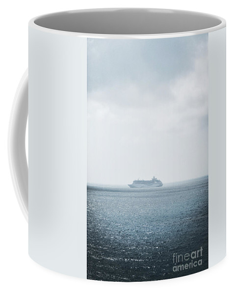 Cruise; Ship; Large; Expanse; Water; Sea; Ocean; Sky; Vacation; Trip; Ocean Liner; Blue; Sail; Vessel; Boat; Alone; Bahamas; Sky; Fun; Side Coffee Mug featuring the photograph Open Waters by Margie Hurwich