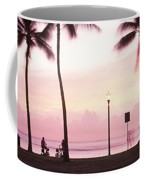 Photography Coffee Mug featuring the photograph Palm Trees On The Beach, Waikiki by Panoramic Images