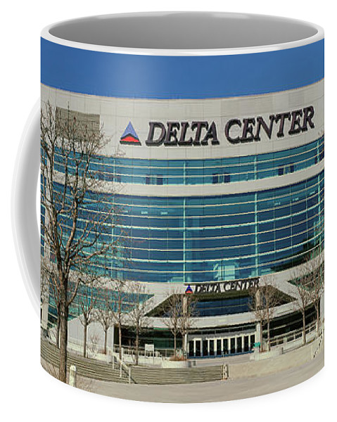 Photography Coffee Mug featuring the photograph Panoramic Of Delta Center Building by Panoramic Images
