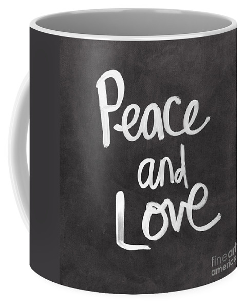 Love Coffee Mug featuring the mixed media Peace and Love by Linda Woods
