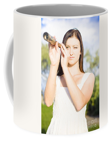 Attractive Coffee Mug featuring the photograph Person With Monocular by Jorgo Photography - Wall Art Gallery