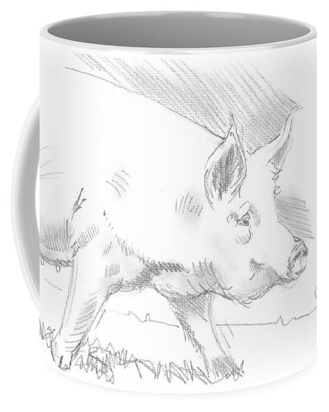 Pig Coffee Mug featuring the drawing Pig Drawing by Mike Jory