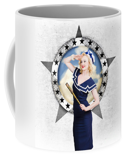 Marine Coffee Mug featuring the photograph Pin-up Sailor Girl On Boat. Holiday Abroad by Jorgo Photography - Wall Art Gallery