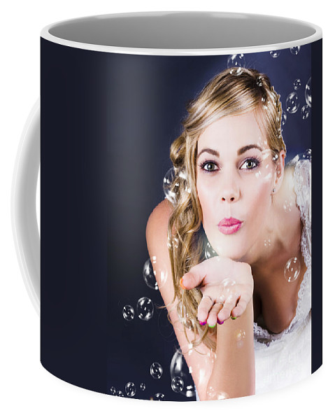 Amusement Coffee Mug featuring the photograph Playful Bride Blowing Bubbles At Wedding Reception by Jorgo Photography - Wall Art Gallery