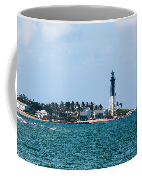 Architecture Coffee Mug featuring the photograph Pompano And The Hillsboro Inlet Lighthouse by Ed Gleichman