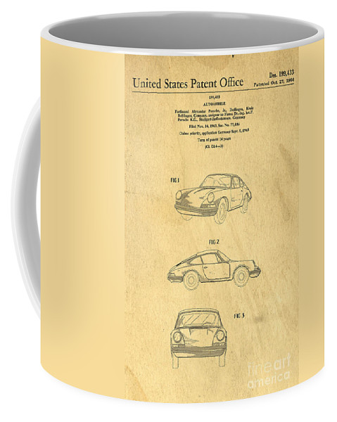 Porsche Coffee Mug featuring the digital art Porsche 911 Carrera 1964 Patent Art by Edward Fielding
