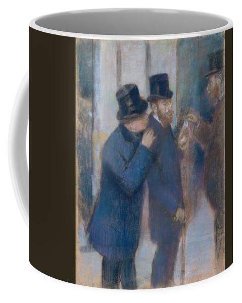 Portraits At The Stock Exchange Coffee Mug featuring the painting Portraits At The Stock Exchange by Edgar Degas
