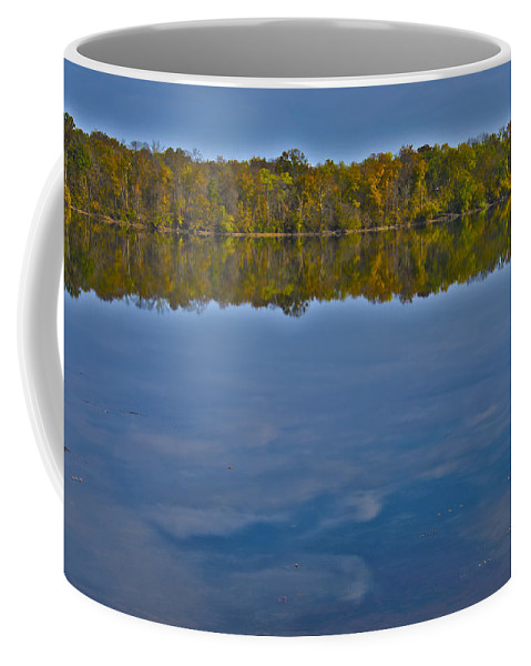 Art Coffee Mug featuring the photograph Fall Colors And Cumulous Clouds by Deb Breton