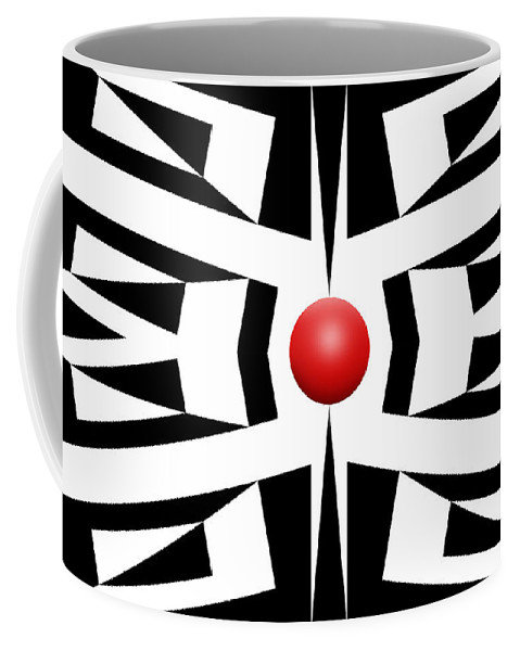 Abstract Coffee Mug featuring the digital art Red Ball 8 by Mike McGlothlen