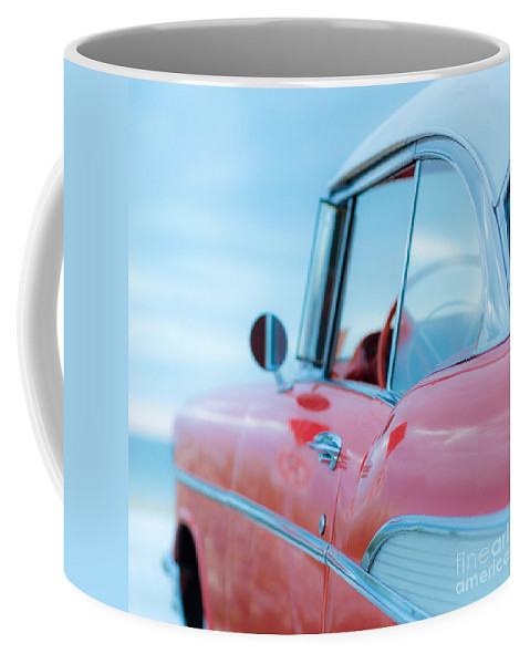 Florida Coffee Mug featuring the photograph Red Chevy '57 Bel Air At The Beach Square by Edward Fielding