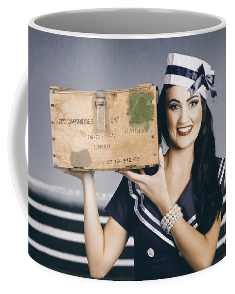 Nautical Coffee Mug featuring the photograph Retro Maritime Portrait. Woman In Sailor Fashion by Jorgo Photography - Wall Art Gallery