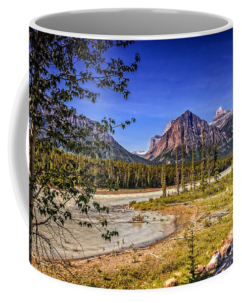 River Coffee Mug featuring the photograph River And Mountains In Jasper by Viktor Birkus
