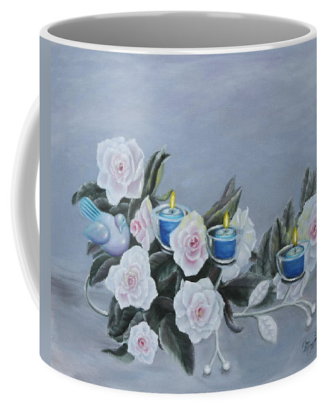 Still Coffee Mug featuring the painting Roses And Candlelight by Lou Magoncia