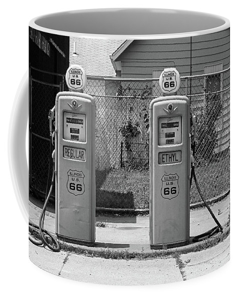 66 Coffee Mug featuring the photograph Route 66 - Illinois Gas Pumps by Frank Romeo