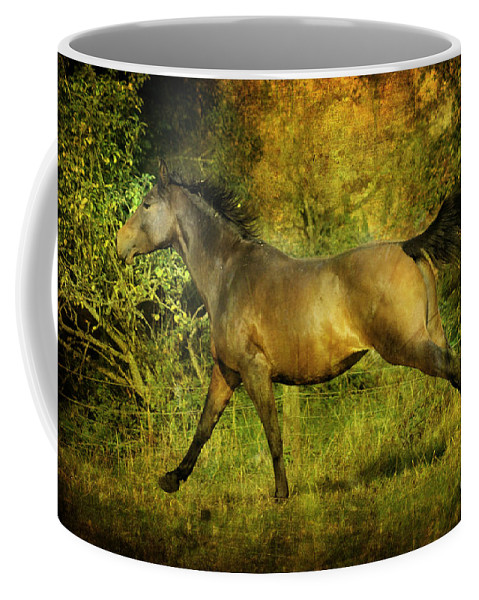 Horses Coffee Mug featuring the photograph Running Free by Angel Ciesniarska