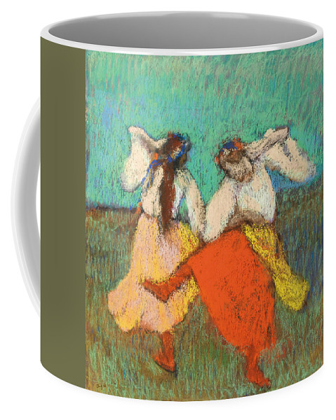 Edgar Degas Coffee Mug featuring the drawing Russian Dancers by Edgar Degas