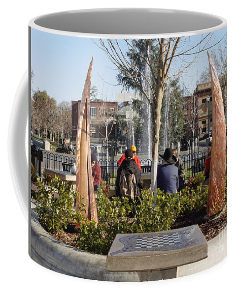 Copper Sculpture Coffee Mug featuring the photograph Rustic Embrace by Peter Piatt