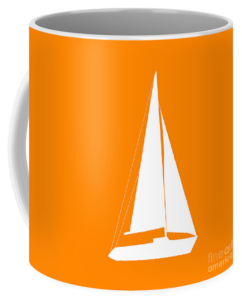Graphic Art Coffee Mug featuring the digital art Sailboat In Orange And White by Jackie Farnsworth