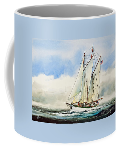 Schooner Zodiac Coffee Mug featuring the painting Historic Schooner Zodiac by James Williamson