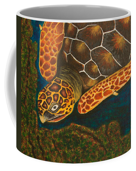 Turtle Coffee Mug featuring the painting Sea Turtle by Susan Cliett