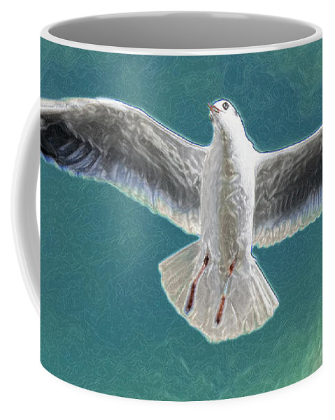Seagull Coffee Mug featuring the photograph 10427 Seagull In Flight by Colin Hunt