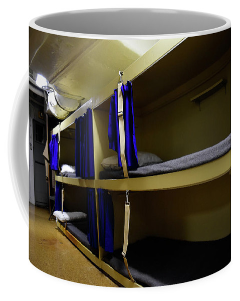 Horizontal Coffee Mug featuring the photograph Seaman Lockers And Bunks Aboard Uss by Stocktrek Images