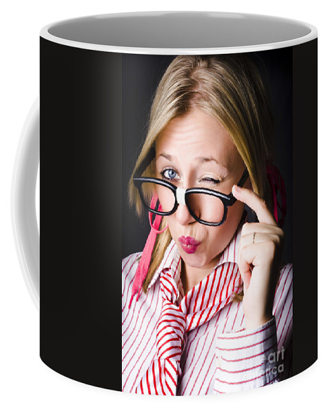 Attractive Coffee Mug featuring the photograph Secretive Nerd Misleading With A Wink Of Deceit by Jorgo Photography - Wall Art Gallery